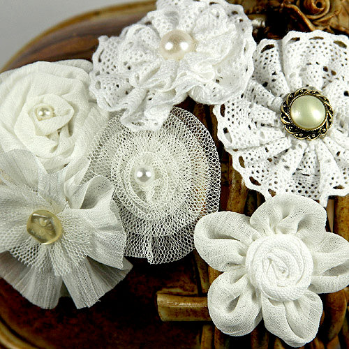 Prima - Madrigal Blossom Collection - Fabric Flower Embellishments - White Librett