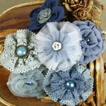 Prima - Madrigal Blossom Collection - Fabric Flower Embellishments - Nocturne