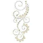 Prima - Say It In Pearls Collection - Self Adhesive Jewel Art - Bling - Swirl with Lace - Vaudeville Cream