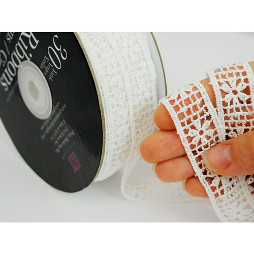 Prima - Lace Collection - Bleached Daisy Grid Spool - 30 Yards