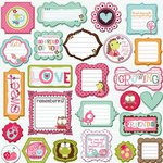 Prima - So Cute Collection - Self Adhesive Glittered Chipboard Pieces - Journaling, CLEARANCE