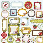 Prima - Road Trip Collection - Self Adhesive Glittered Chipboard Pieces - Journaling