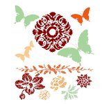 Prima - Fairy Flora Collection - Clear Acrylic Stamps and Self Adhesive Jewels - Mix 1