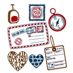 Prima - Road Trip Collection - Clear Acrylic Stamps and Self Adhesive Jewels - Mix 1