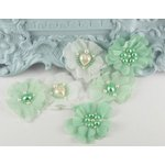Prima - Louisa May Alcotts Collection - Fabric Flower Embellishments - Mint, CLEARANCE