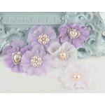 Prima - Louisa May Alcotts Collection - Fabric Flower Embellishments - Periwinkle