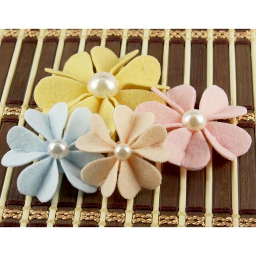 Prima - Kalanchoe Collection - Felt Flower Embellishments - Almond, CLEARANCE