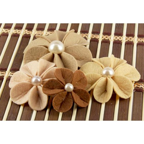 Prima - Kalanchoe Collection - Felt Flower Embellishments - Mocha, CLEARANCE