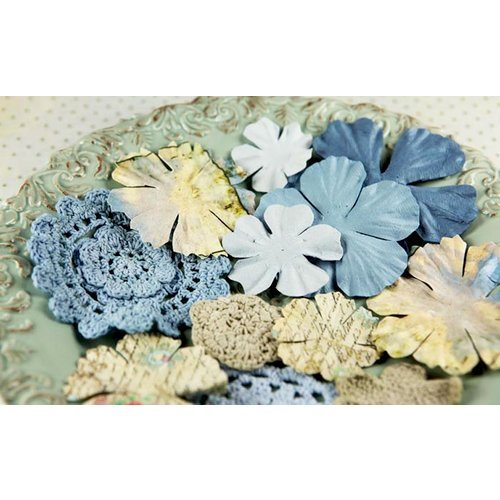 Prima - Sweet Taffy Collection - Flower Embellishments - Blue