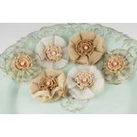 Prima - Bronte Blooms Collection - Fabric Flower Embellishments - Bisque, CLEARANCE