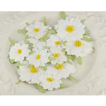 Prima - Holiday Celebration Collection - Flower Embellishments - Snowdrop, CLEARANCE