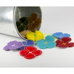 Prima - Stitched Wildflowers Collection - Fabric Flower Embellishments - Wild Pansy