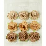 Prima - Sugarplum Roses Collection - Flower Embellishments - Cinnamon, CLEARANCE