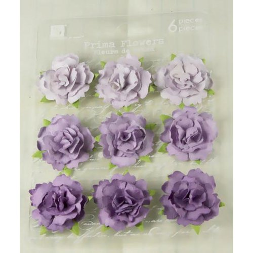 Prima - Sugarplum Roses Collection - Flower Embellishments - Eggplant, CLEARANCE
