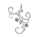 Prima - Say It In Pearls and Crystals Collection - Self Adhesive Jewel Art - Bling - Flourish with Flowers - Black Diamond