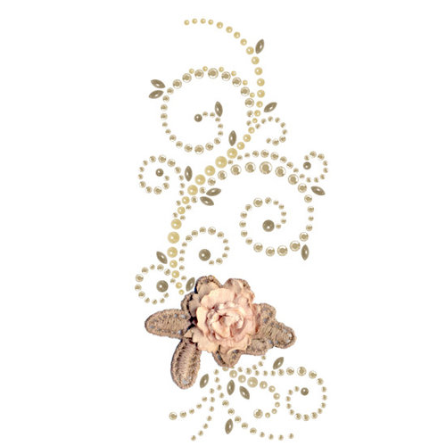 Prima - Say It In Pearls and Crystals Collection - Self Adhesive Jewel Art - Bling - Elegant Cottage - Brown