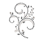 Prima - Say It In Pearls and Crystals Collection - Self Adhesive Jewel Art - Bling - Floral Timepiece - Black Diamond, CLEARANCE