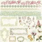 Prima - Botanical Collection - 12 x 12 Glittered Cardstock Stickers - Journaling