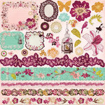 Prima - Melody Collection - 12 x 12 Glittered Cardstock Stickers - Journaling