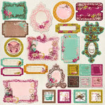 Prima - Melody Collection - Self Adhesive Glittered Chipboard Pieces - Journaling