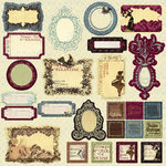Prima - Reflections Collection - Self Adhesive Glittered Chipboard Pieces - Journaling