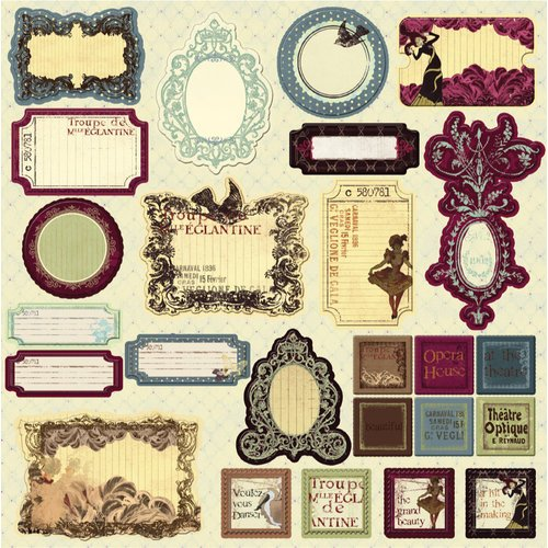 Prima - Back Stage Collection - Self Adhesive Glittered Chipboard Pieces - Journaling