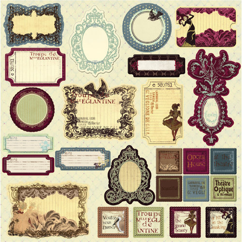 Prima - Moulin Rouge Collection - Self Adhesive Glittered Chipboard Pieces - Journaling