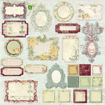 Prima - Botanical Collection - Self Adhesive Glittered Chipboard Pieces - Journaling