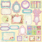 Prima - Sweet Fairy Collection - Self Adhesive Glittered Chipboard Pieces - Journaling