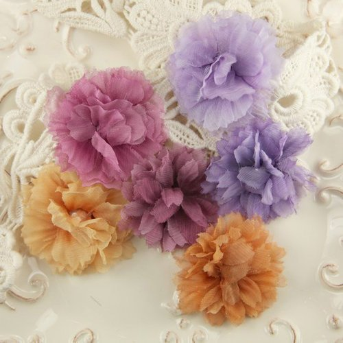 Prima - De Soie Collection - Fabric Flower Embellishments - Bistro, BRAND NEW