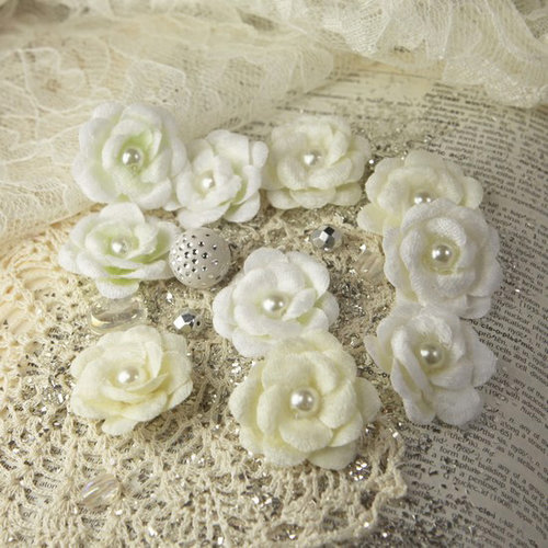 Prima - Audrey Rose Collection - Fabric Flower Embellishments - Snow, CLEARANCE