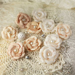Prima - Audrey Rose Collection - Fabric Flower Embellishments - Tan