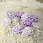 Prima - Audrey Rose Collection - Fabric Flower Embellishments - Iced Violet