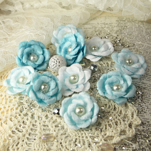 Prima - Audrey Rose Collection - Fabric Flower Embellishments - Blue Ice