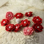 Prima - Audrey Rose Collection - Fabric Flower Embellishments - Scarlett