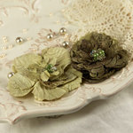 Prima - Heart Desire Collection - Fabric Flower Embellishments - Olive