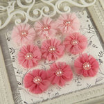 Prima - Delightful Collection - Fabric Flower Embellishments - Hush