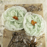 Prima - Parfait Collection - Fabric Flower Embellishments - Wintergreen, CLEARANCE