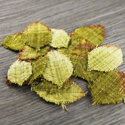Prima - Lovely Collection - Fabric Leaves Embellishments - Mix 6