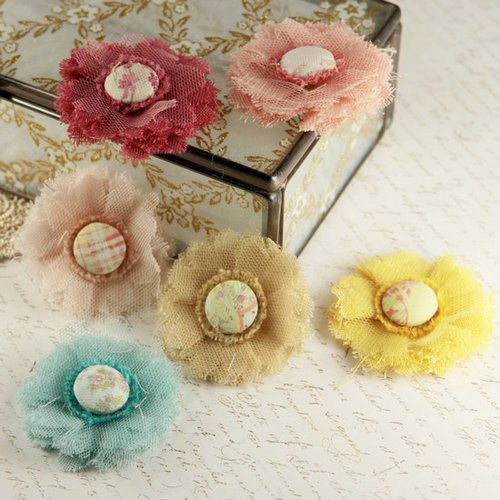 Prima - Trinket Collection - Fabric Flower Embellishments - Sparkling Spring, CLEARANCE