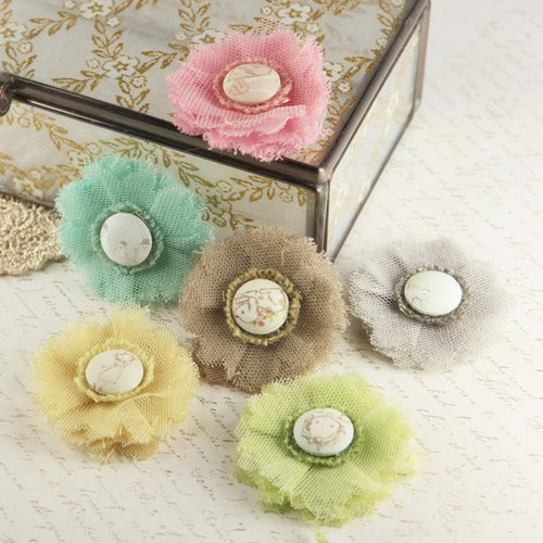 Prima - Trinket Collection - Fabric Flower Embellishments - Celebrate Jack and Jill
