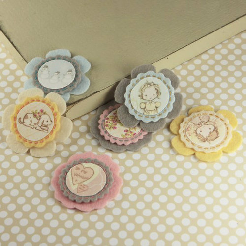 Prima - Gianna Collection - Fabric Flower Embellishments - Celebrate Jack and Jill