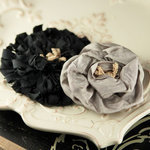 Prima - Dechire Collection - Fabric Flower Embellishments - Noir, BRAND NEW