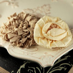 Prima - Dechire Collection - Fabric Flower Embellishments - Creme, BRAND NEW