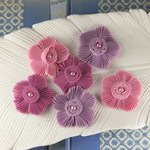 Prima - Harlow Collection - Pleated Fabric Flower Embellishments - Cora