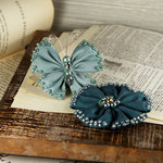 Prima - Elegance Collection - Fabric Butterfly and Flower Embellishments - Teal