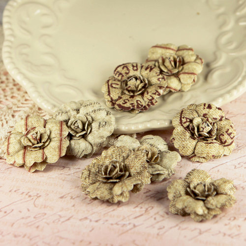 Prima - Parchment Petals Collection - Flower Embellishments - Vintage