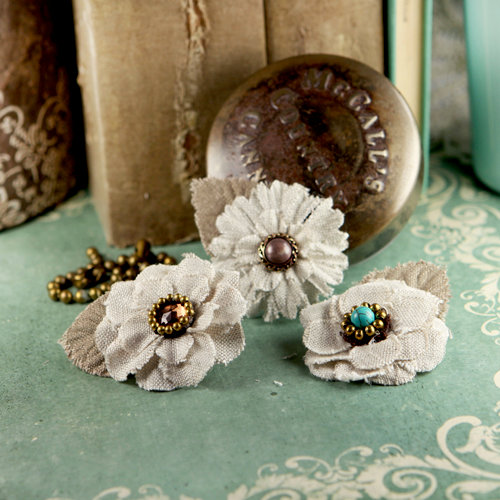 Prima - Flaxence Collection - Fabric Flower Embellishments - Barley