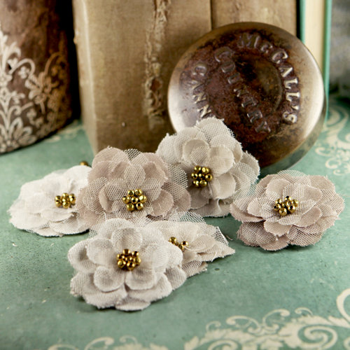 Prima - Flaxence Collection - Fabric Flower Embellishments - Grain