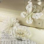 Prima - Meredith Collection - Fabric Butterfly and Flower Embellishments - Natural